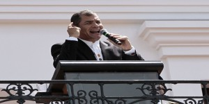 Ecuadorean President Rafael Correa delivers a speech in Quito on June 15, 2015. Correa said he is ready to go for a referendum on a bill which would increase inheritance taxes and other economic measures after strong opposition protests.  AFP PHOTO /JUAN CEVALLOS        (Photo credit should read JUAN CEVALLOS/AFP/Getty Images)