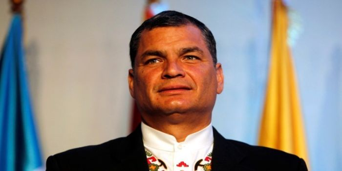 Ecuador's President Rafael Correa looks on as he takes part in the 5th Esquipulas Forum in Guatemala City, August 19, 2014. Leaders from the region are attending the forum to discuss a new developmental model for the region, according to organisers.  REUTERS/Jorge Dan Lopez (GUATEMALA - Tags: POLITICS) - RTR42Z7A