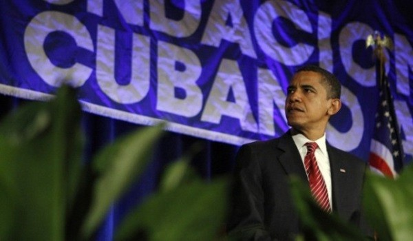 Democratic presidential hopeful, Sen. Barack Obama, D-Ill., speaks at Cuban Independence Day Celebration in Mami, Fla., Friday, May 23, 2008.  (AP Photo/Chris Carlson)