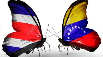 Two butterflies with flags on wings as symbol of relations Costa Rica and Venezuela