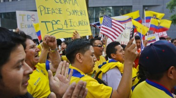 A coalition of community leaders and immigrant advocates demonstrate outside U.S. immigration offices, calling on federal authorities to designate Ecuador for Temporary Protected Status (TPS) for its nationals in the aftermath of last April's 7.8 magnitude earthquake, Wednesday June 1, 2016, in New York. (AP Photo/Bebeto Matthews)