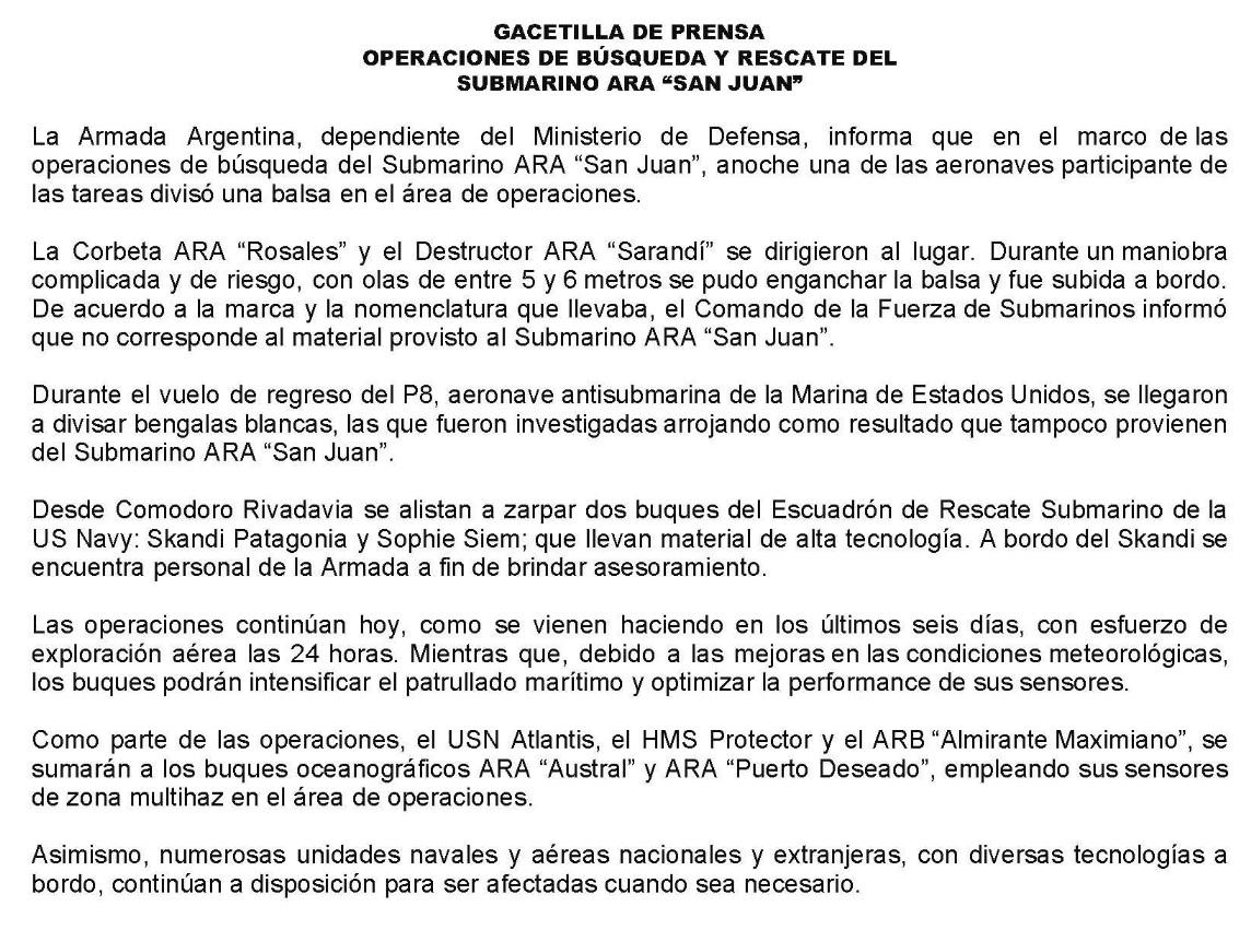 Argentina: zarpa una misión de EEUU para la búsqueda del submarino ...