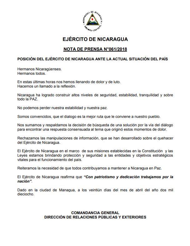 Ejército de Nicaragua anuncia que no reprimirá en manifestaciones ...