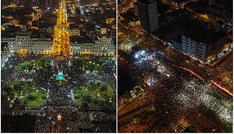Perú | Seguidores de Pedro Castillo y Keiko Fujimori se manifestaron en defensa de la democracia